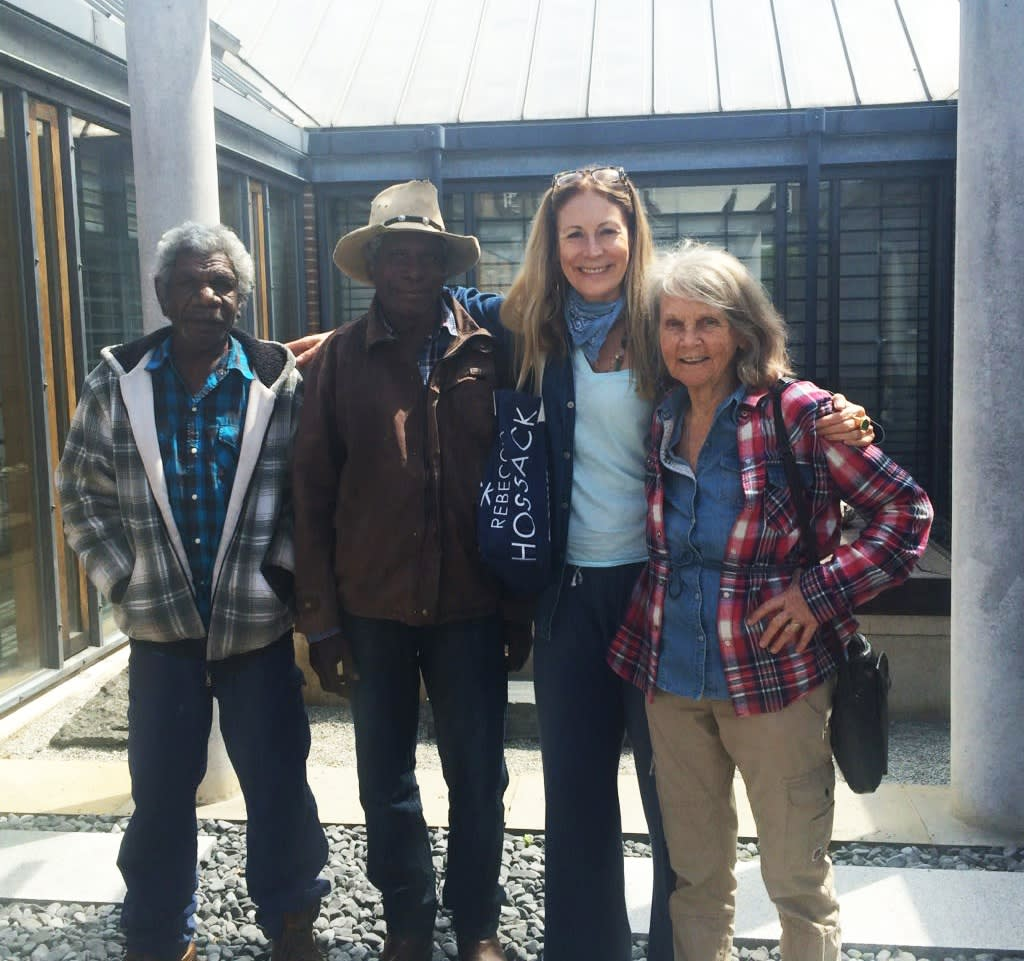 Rebecca Hossack with Pat Lowe, Mervyn Street and David Njuguna in London during Jumu: Artists of Fitzroy Crossing (2016)