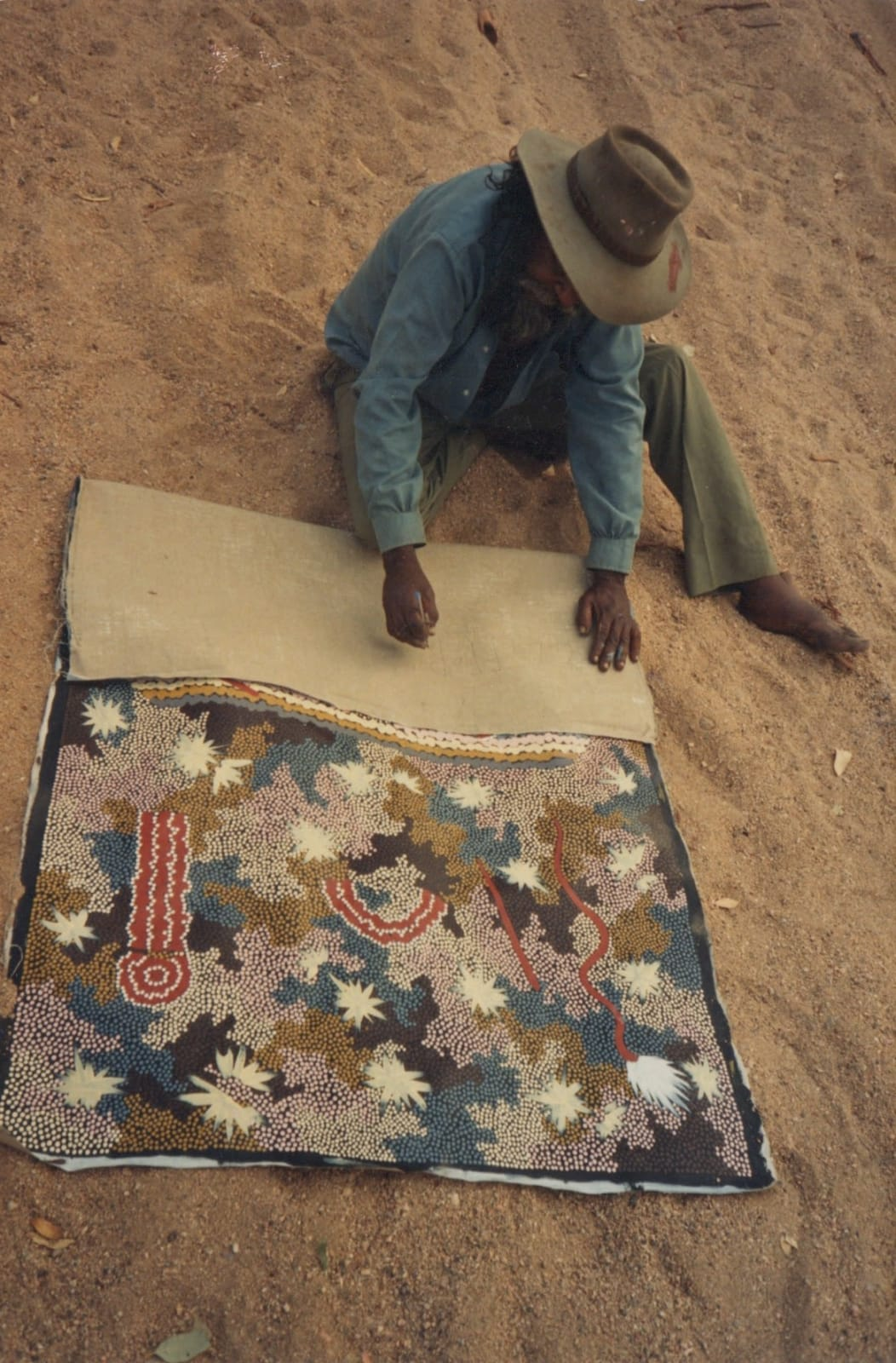 Clifford Possum painting in the Australian Desert