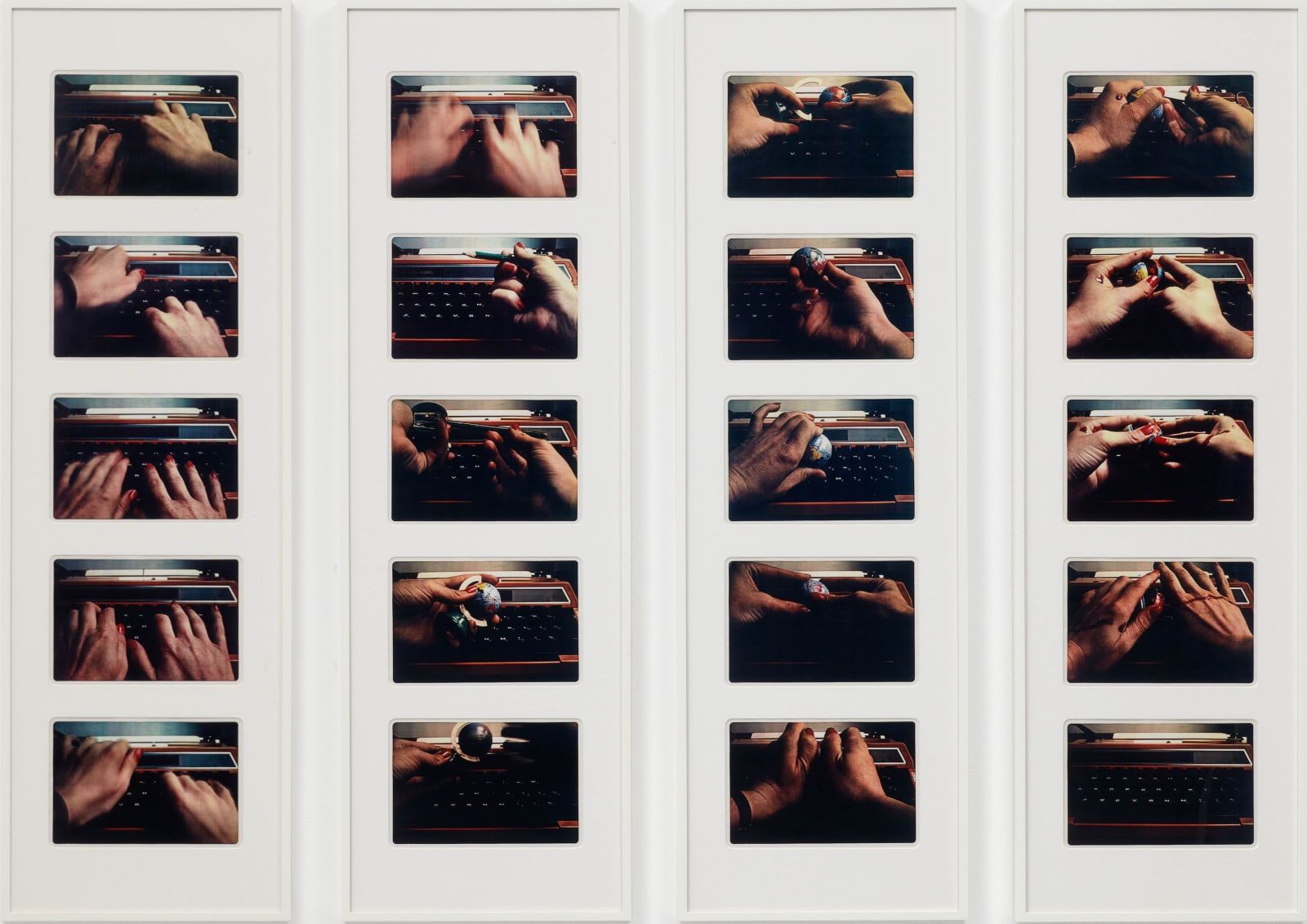 Alexis HUNTER Secretary Sees The World, 1978 20 hand coloured vintage Xeroxes in 4 framed panels Each: 120 x 37 cm