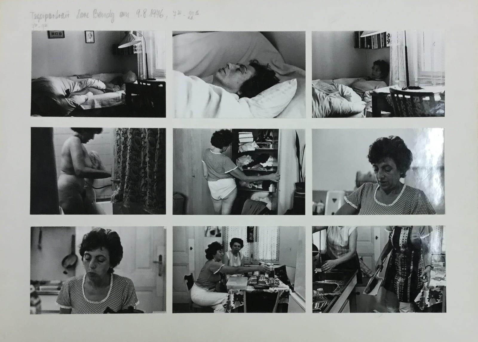 Friedl KUBELKA Tagesportrait: Lore Bondy am 9.8.1976, 7:30 - 22:15, 1976 61 vintage gelatin silver prints mounted on 7 sheets of card Each sheet: 32 x 44 cm