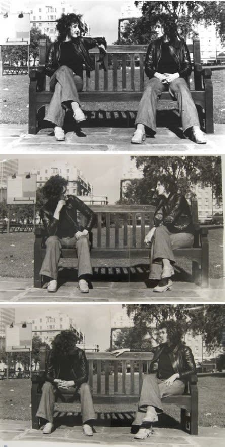 Rose FINN-KELCEY Conversation Piece (Divided Self), 1974 3 unique photographs, each comprising 2 photographs collaged onto board 41.2 x 62.5 cm 41 x 64.2 cm 40.5 x 66.6 cm