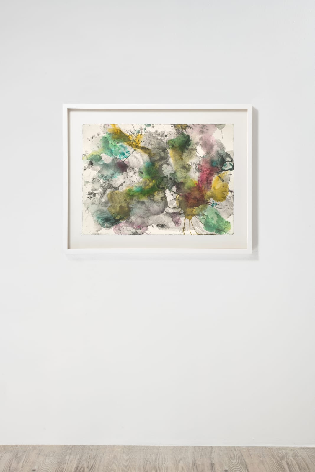 Michele Colburn Bombardment, 2020 Gunpowder and watercolors on Arches paper with deckled edges 55.9 x 76.2 cm, 22 x 30 in. (Frame not included) Photo: Lee Stalsworth