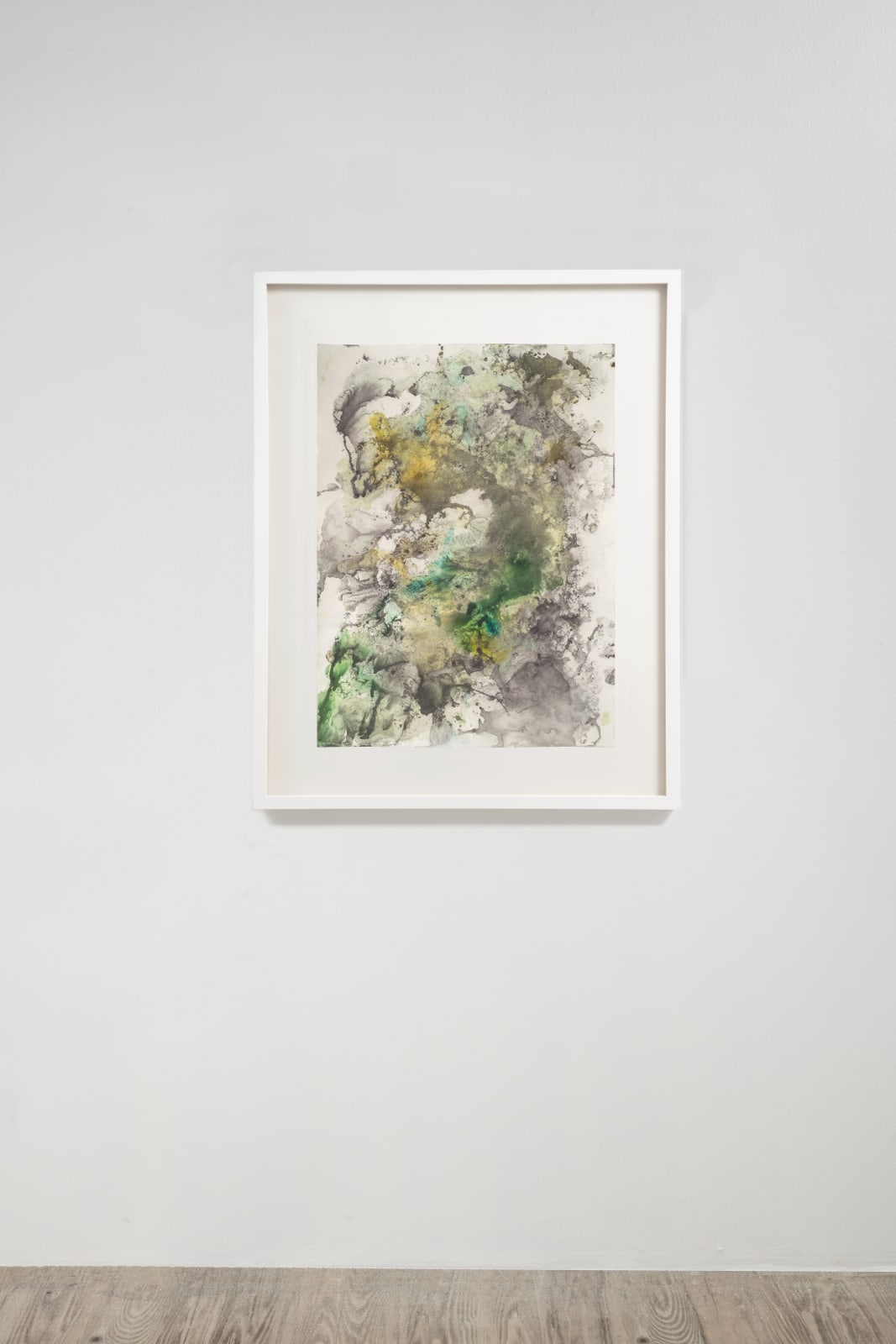 Michele Colburn Green Wave, 2020 Gunpowder and watercolors on Arches paper with deckled edges 76.2 x 55.9 cm, 30 x 22 in. (Frame not included) Photo: Lee Stalsworth