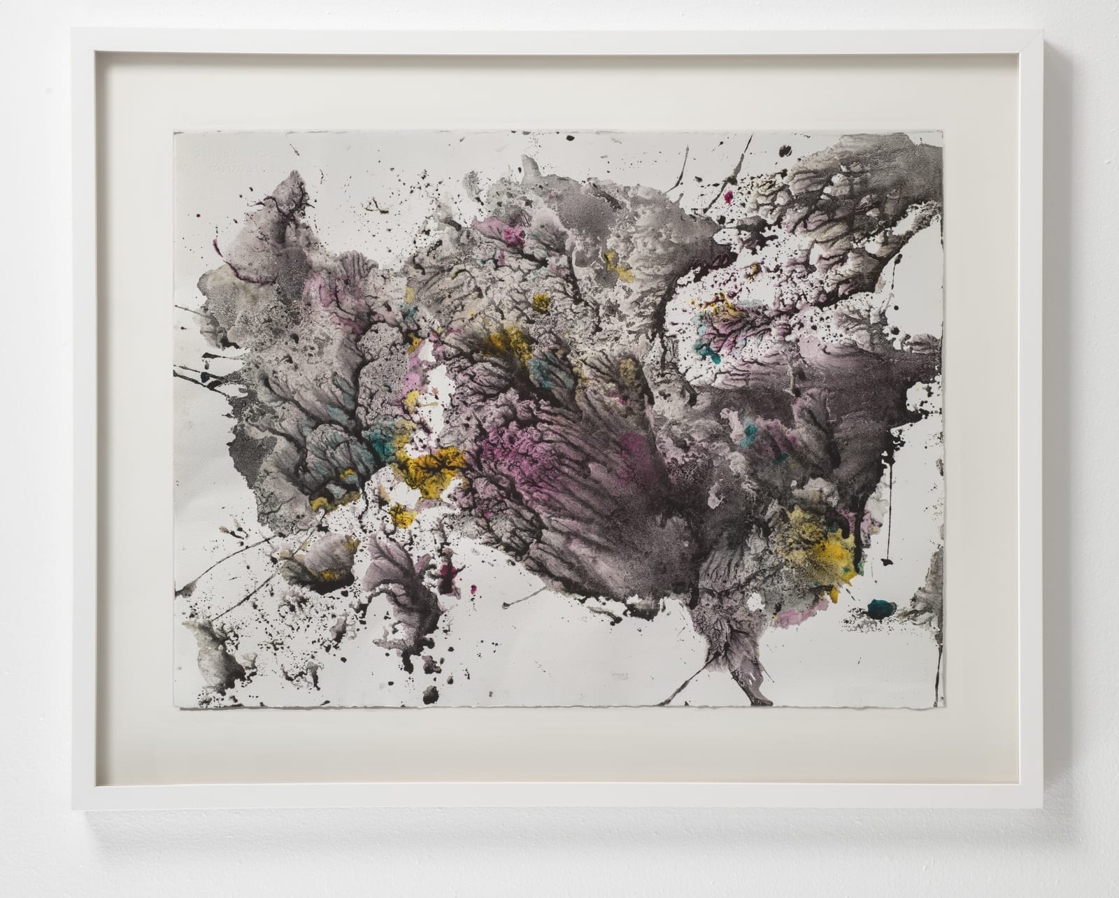 Michele Colburn Pyroclastic Surge, 2020 Gunpowder and watercolors on Arches paper with deckled edges 55.9 x 76.2 cm, 22 x 30 in. (Frame not included) Photo: Lee Stalsworth