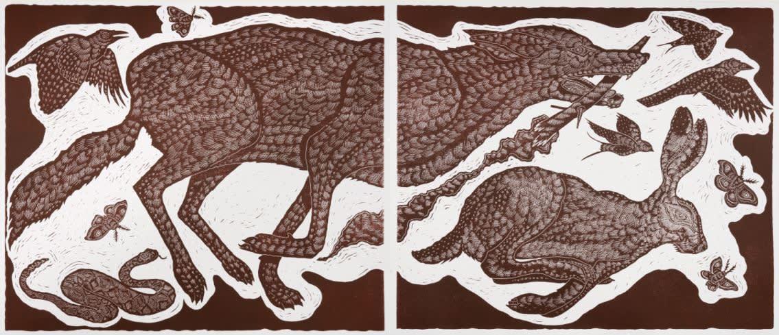 Richard Armendariz Exodus (Diptych), Hare & Hound Press, San Antonio, TX, 2019