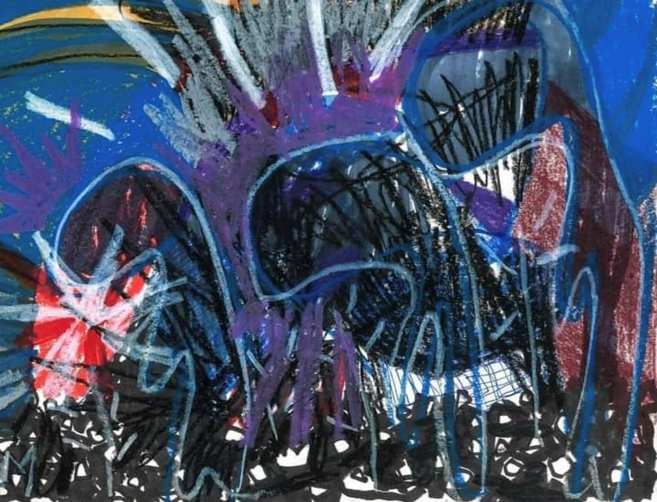Cristina Muñiz Organized Pain, 2020 Crayon, Sakura marker on paper 12 x 9 in 30.5 x 22.9 cm