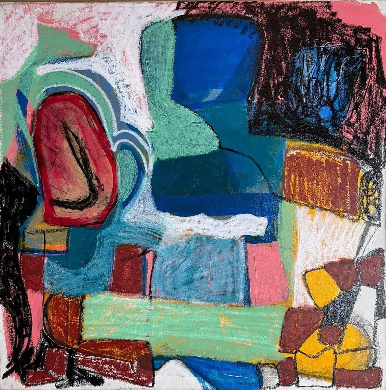 Cristina Muñiz Watchaté, 2021 Painted paper, Sakura marker, oil on canvas 24 x 24 in 61 x 61 cm