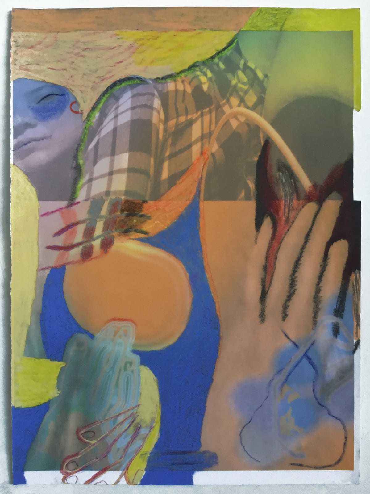 Gaby Collins-Fernandez One Plaid Eroticism, 2020 Crayons and digital photocollage on flocked paper 19 x 13.5 in 48.3 x 34.3 cm
