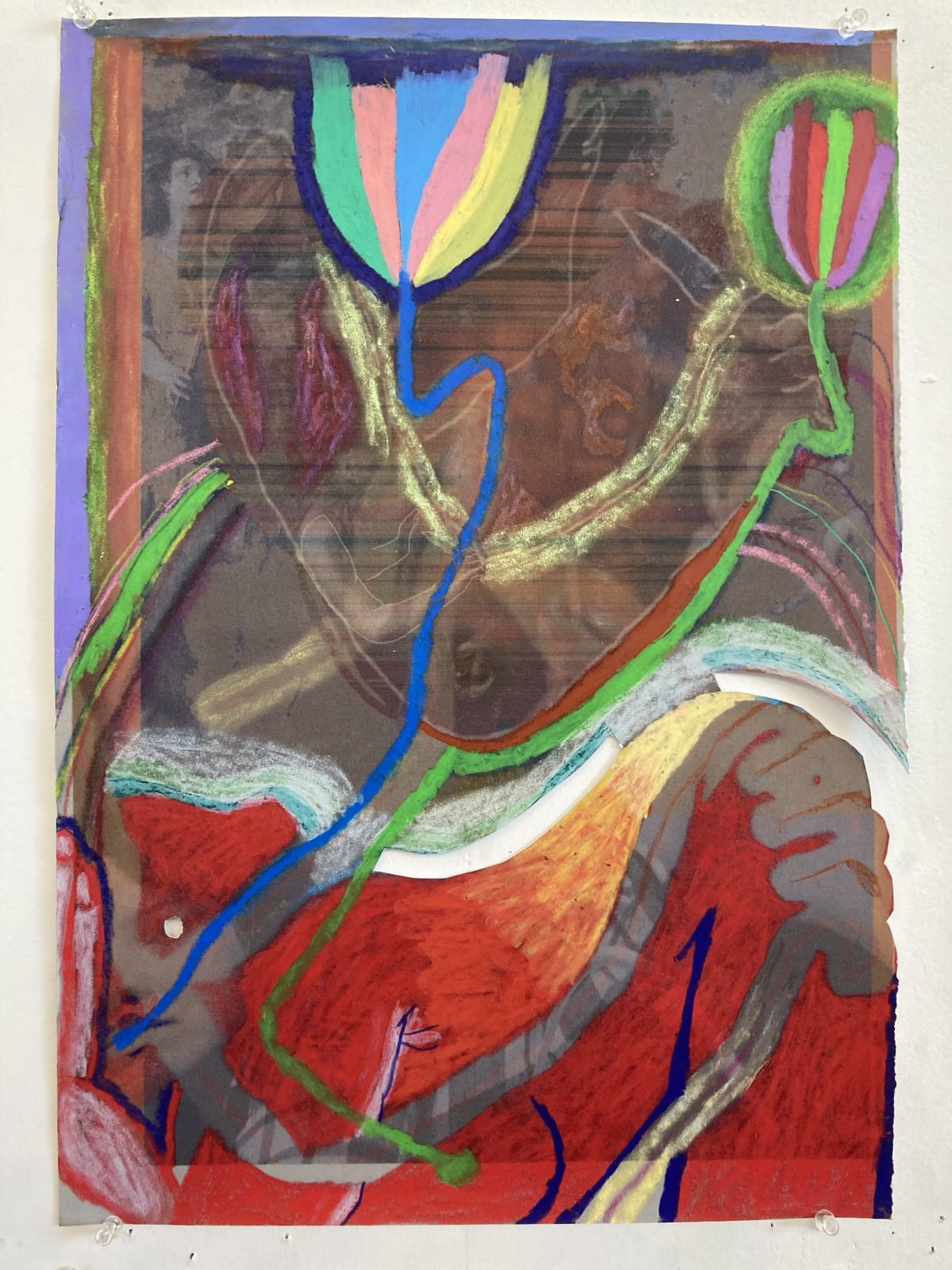 Gaby Collins-Fernandez No Peeking, 2020 Crayons and digital photocollage on flocked paper 19 x 13.5 in 48.3 x 34.3 cm