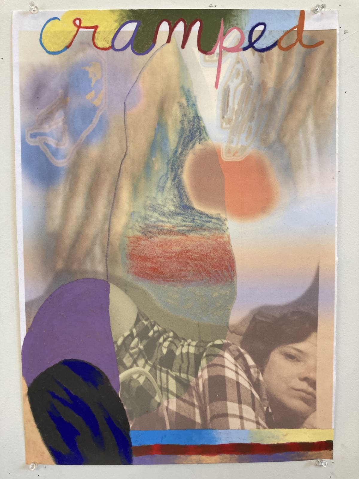 Gaby Collins-Fernandez Dead Center, 2020 Crayons and digital photocollage on flocked paper 19 x 13.5 in 48.3 x 34.3 cm