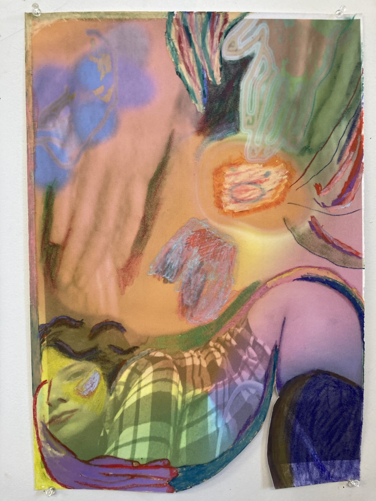 Gaby Collins-Fernandez Very Hungry Caterpillar, 2020 Crayons and digital photocollage on flocked paper 19 x 13.5 in 48.3 x 34.3 cm