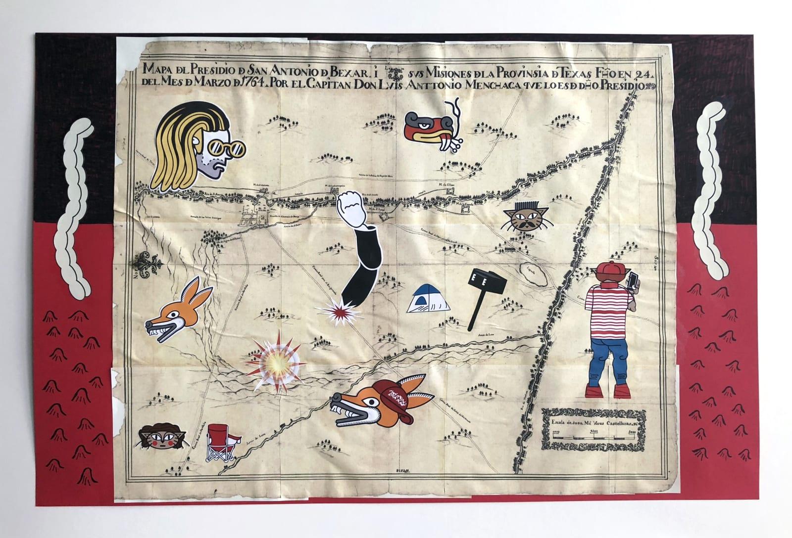 Michael Menchaca Mapa de San Antonio y sus misiones en el aniversario de trecientos anos, despues del Capitan Don Luis Antonio Menchaca, 2018
