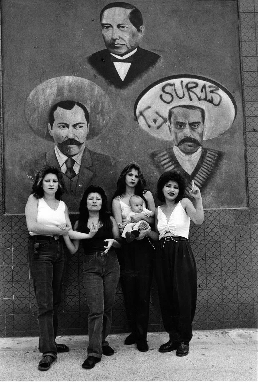 Graciela Iturbide Cholas I (con Zapata y Villa) White Fence, East L.A., 1986