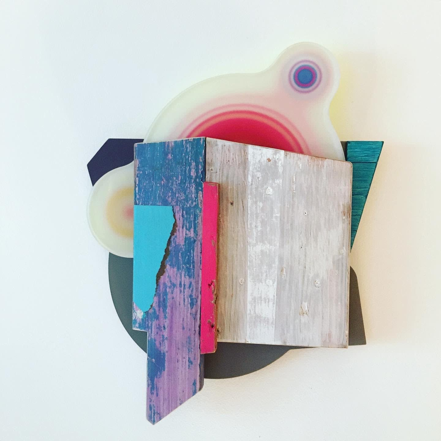 Andrés Ferrandis Islas, 2020 Wood, polycarbonate, found object, silkscreen cardboard, oil and acrylic painting 22 x 16 x 3.5