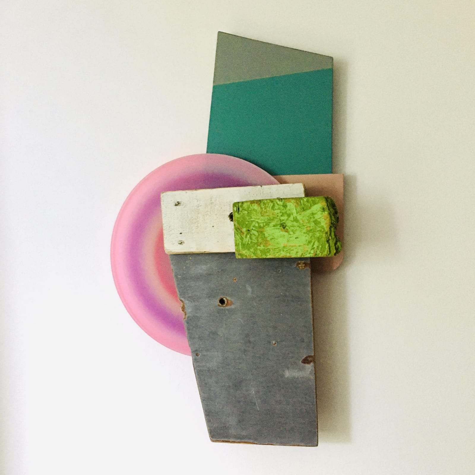 Andrés Ferrandis Papchock, 2020 Wood, polycarbonate, found object, silkscreen, cardboard, oil and acrylic painting 24 x 13 x 4