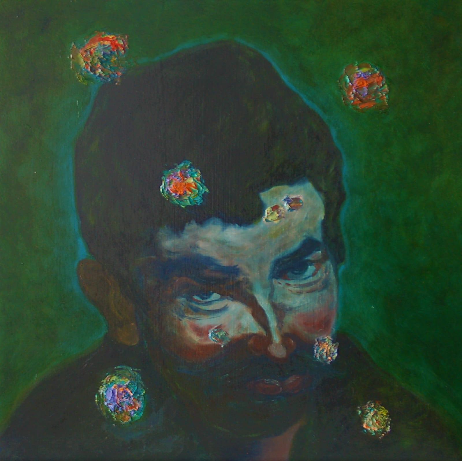 Richard Armendariz Beauty Marks: Sons of Velazquez V, 2020 Signed and dated on back of artwork Oil on birch panel 24 x 24