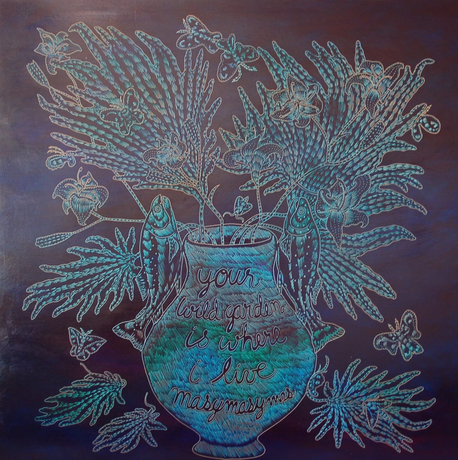 Richard Armendariz Your Wild Garden is Where I Choose to Live, 2020 Carved oil on birch panel 48 x 48