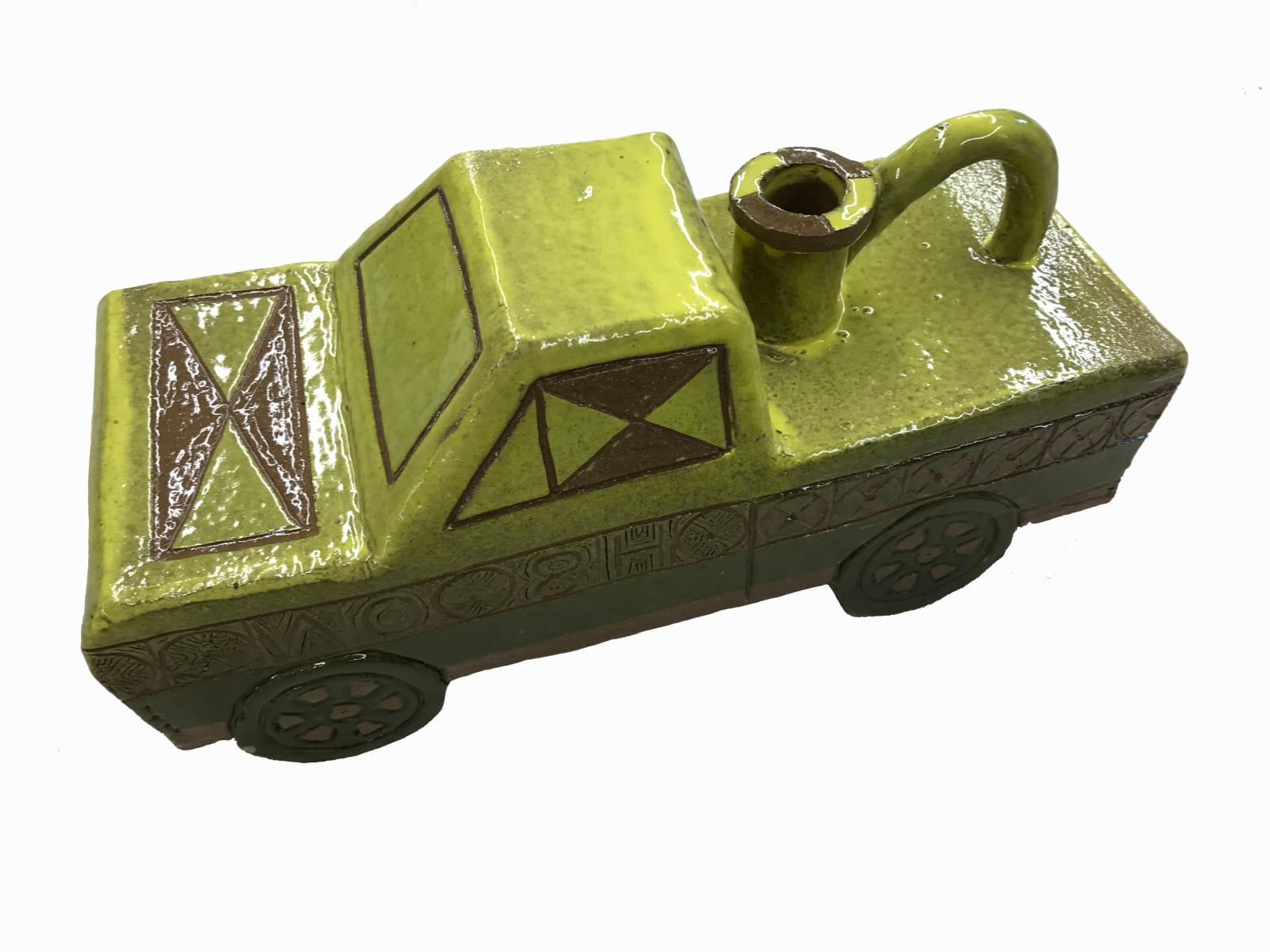 Edward Salas Truck Vessel (H8 On This), 2021 Stoneware clay and glaze 12 x 4.5 x 6.5 in 30.5 x 11.4 x 16.5 cm