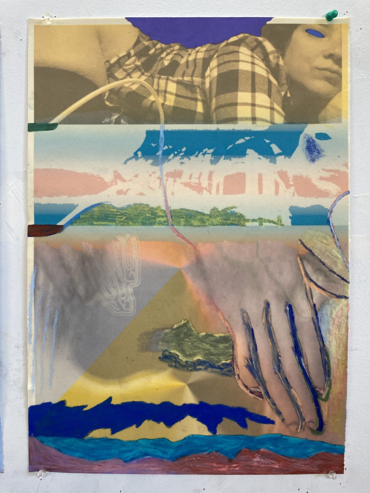Gaby Collins-Fernandez Richter Scale Selfie, 2020 Crayons and digital photocollage on flocked paper 19 x 13.5 in 48.3 x 34.3 cm