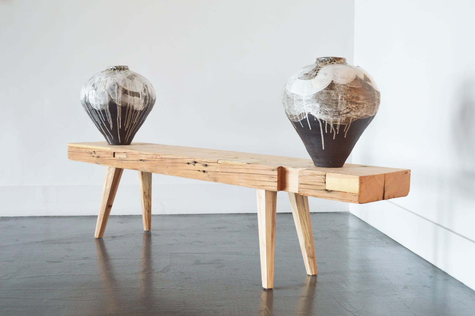 Nate Cassie Twin vessels with a landscape reflecting the moon, 2021 Black stoneware with white slip and crackle glaze 17 x 14 x 14 in each 43.18 x 35.56 x 35.56 cm