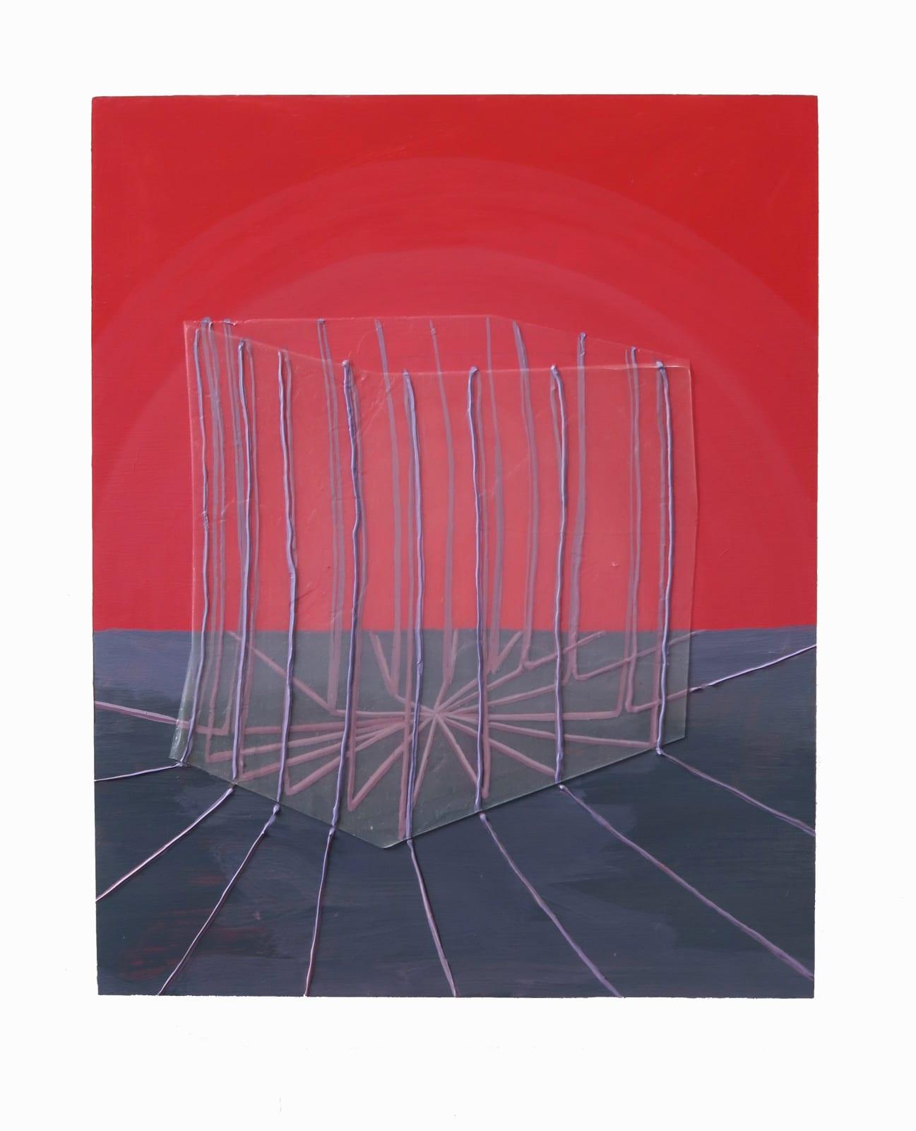 Ricardo Cabret Tu data esta segura, 2021 Polymers and acrylic on panel 16 x 20 in 40.6 x 50.8 cm