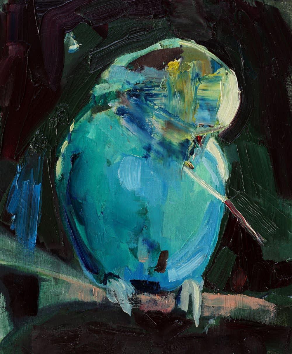 ANNA BITTERSOHL - KUGEL UND STAB - 2017 - OIL ON PANEL - 30 X 25 CM