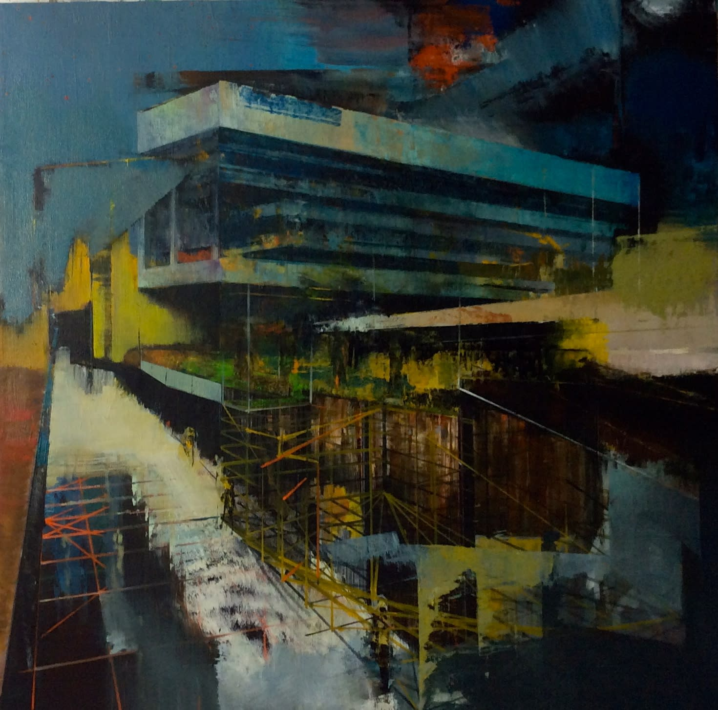 TIM KENT - INTERFERENCE ZONE - 2016 - OIL ON LINEN - 76 X 76 CM