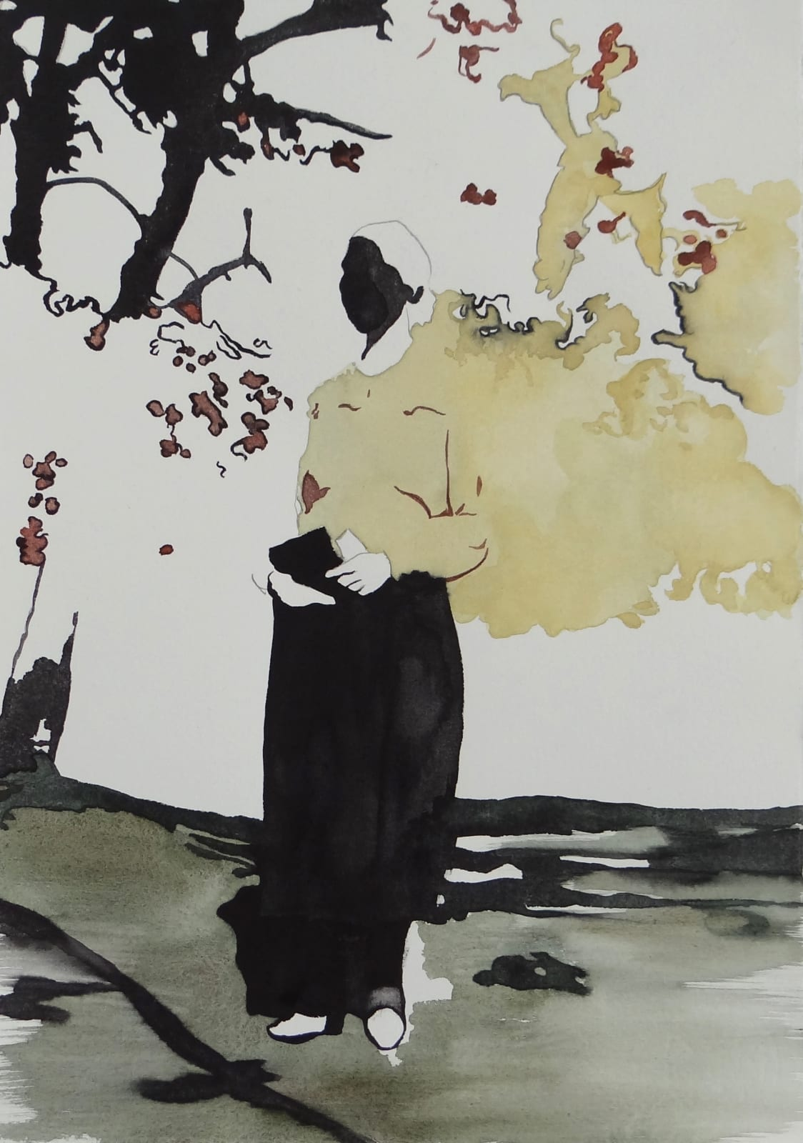 NATALIA OSSEF - THE MOMENT I SAW HER - 2015 - WATERCOLOR ON PAPER - 36 X 25 CM