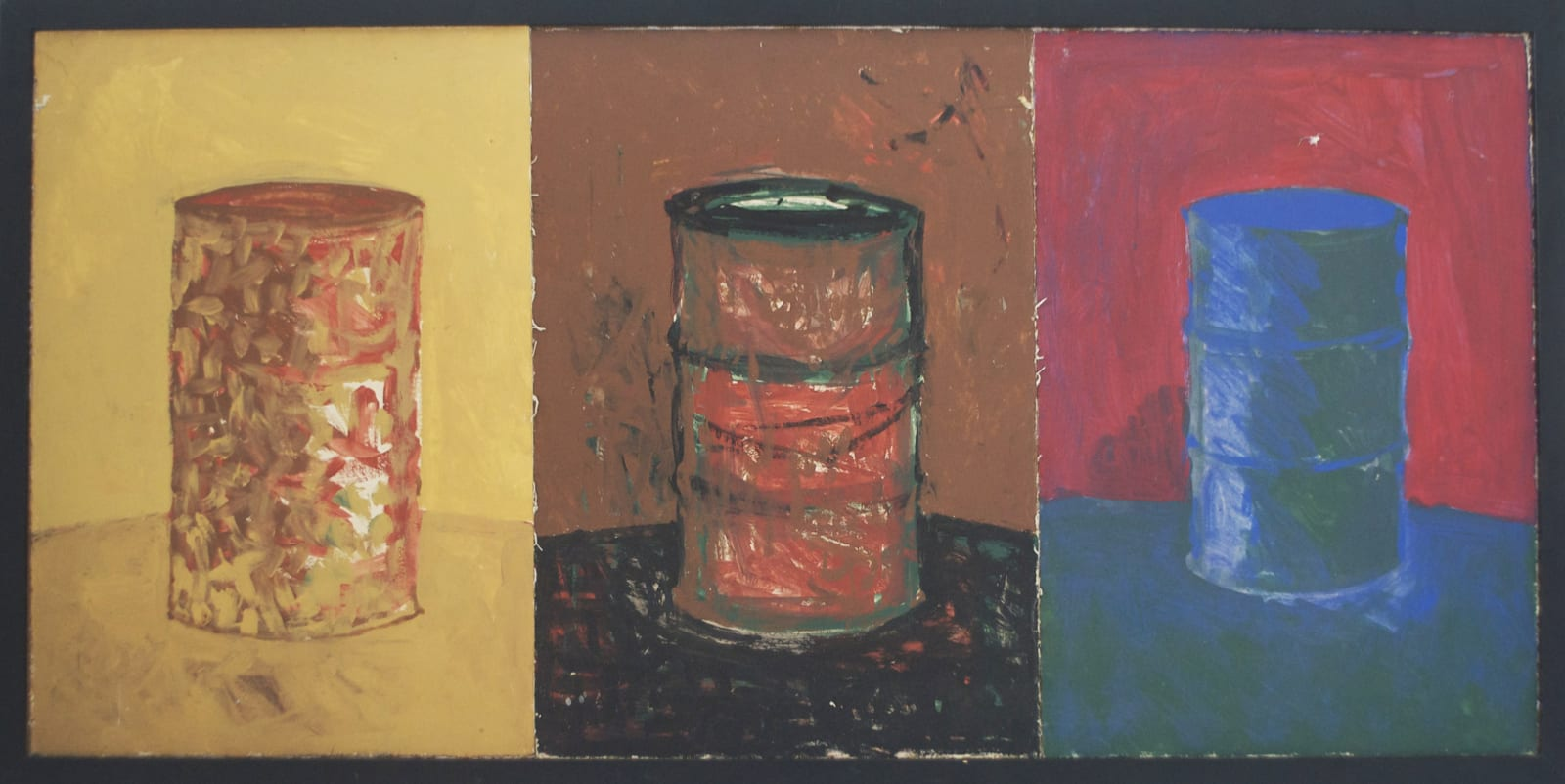 CHANDRAGUPTHA THENUWARA 1997 Barrelism Triptych, Oil on Canvas, 61cmx125cm