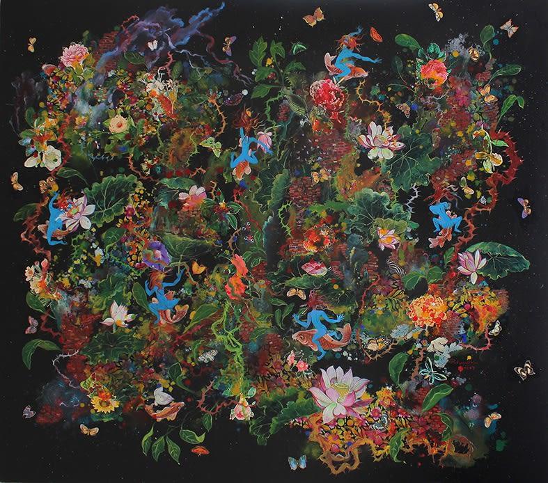 Carp Riders, 2017, Mixed Media on Canvas, 150cm x170cm