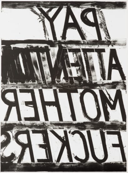 Bruce Nauman, Pay Attention, 1973 Lithograph 38 1/4 x 28 1/4 in. / 97.2 x 71.8 cm. Edition of 50