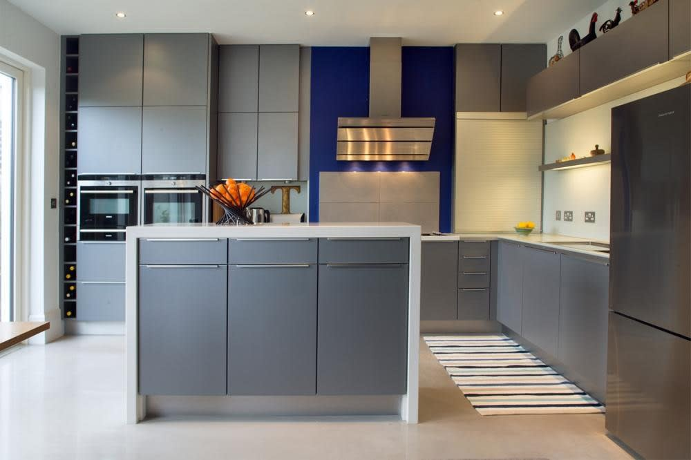 The grey kitchen units are from Kube Kitchens. Each object in the house was carefully picked, such as the tap which cost €1,000. 'When everyone else was having fun, we were in industrial estates looking at a tap,' John says with a laugh, adding: 'I was a pest in Knobs and Knockers'
