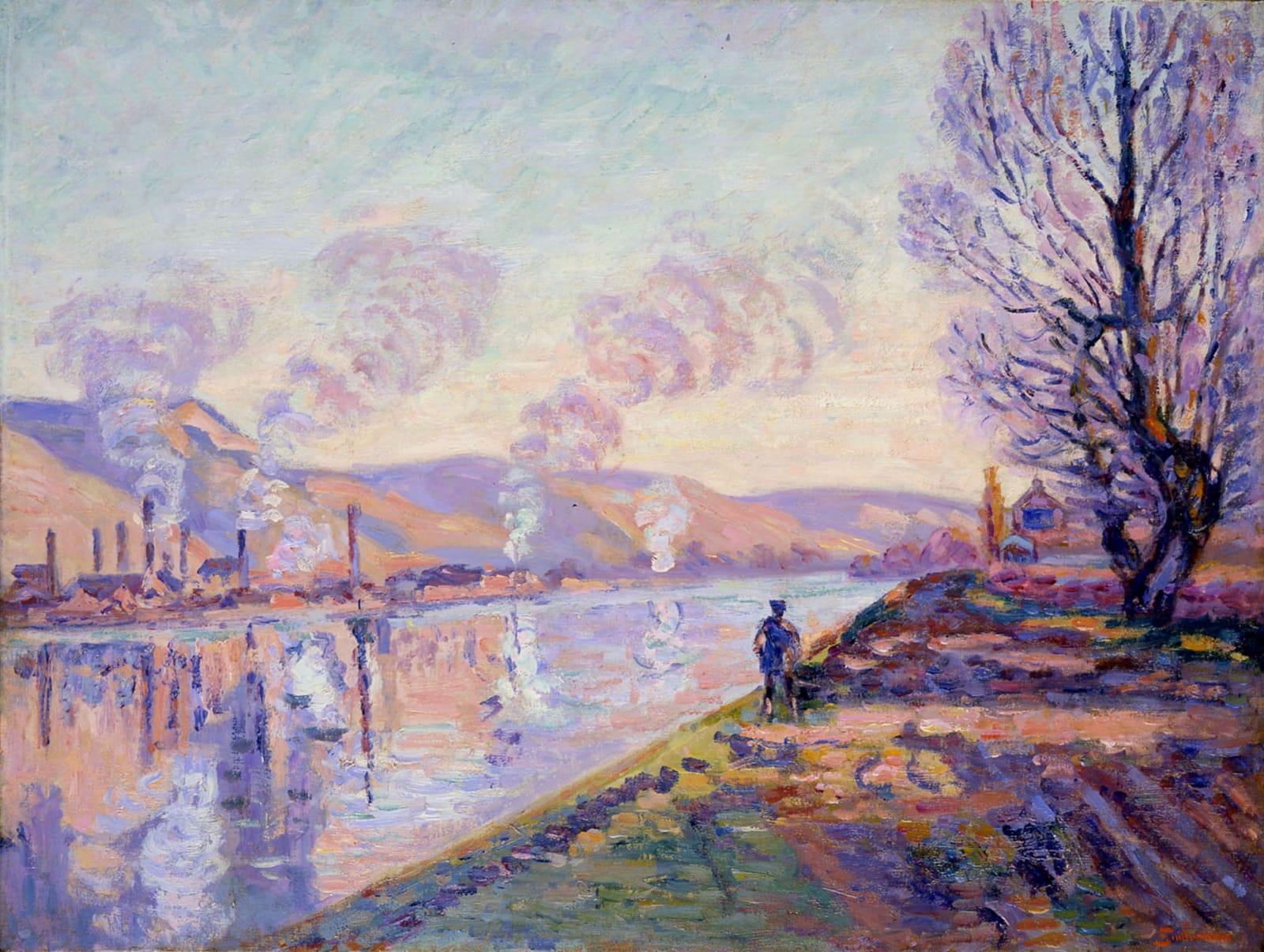 Armand Guillaumin La Seine en amont de Rouen, c.1890 49 x 65 cm 19 3/4 x 25 1/2 inches Oil on canvas Sold by the gallery