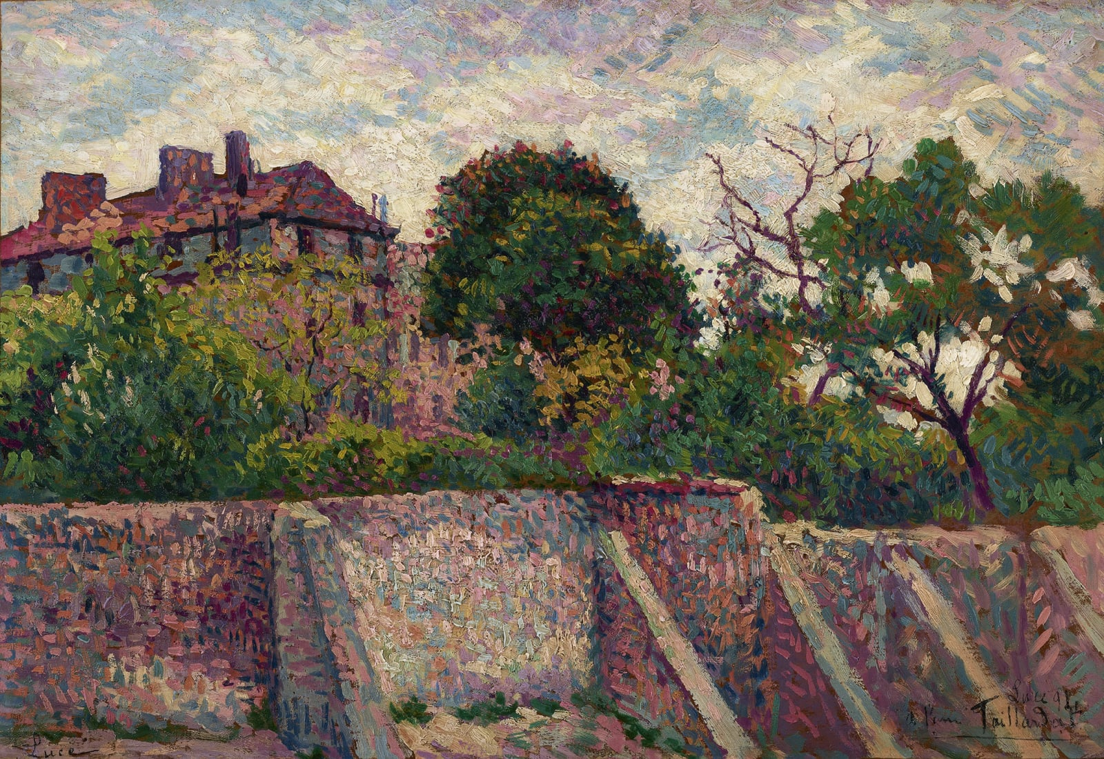 Maximilien Luce (1858-1941) Montmartre rue des Saules, 1894 Oil on canvas 27.1 x 39.1 cm 10 5/8 x 15 3/8 inches Signed lower left Luce and dedicated lower right Luce 94, à l'ami Taillardat Sold by the gallery Archives Stoppenbach & Delestre