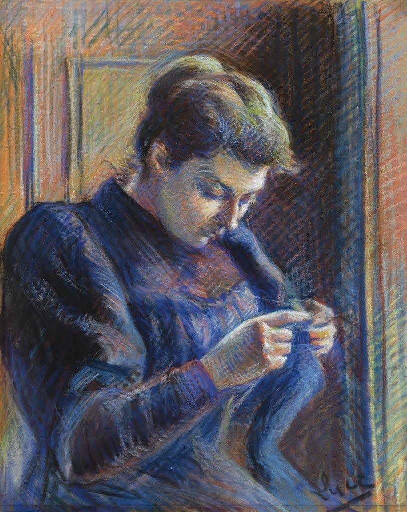 Maximilien Luce (1858-1941) Portrait de Madame Berthier Pastel on paper 44.8 x 35.7cm © Private collection