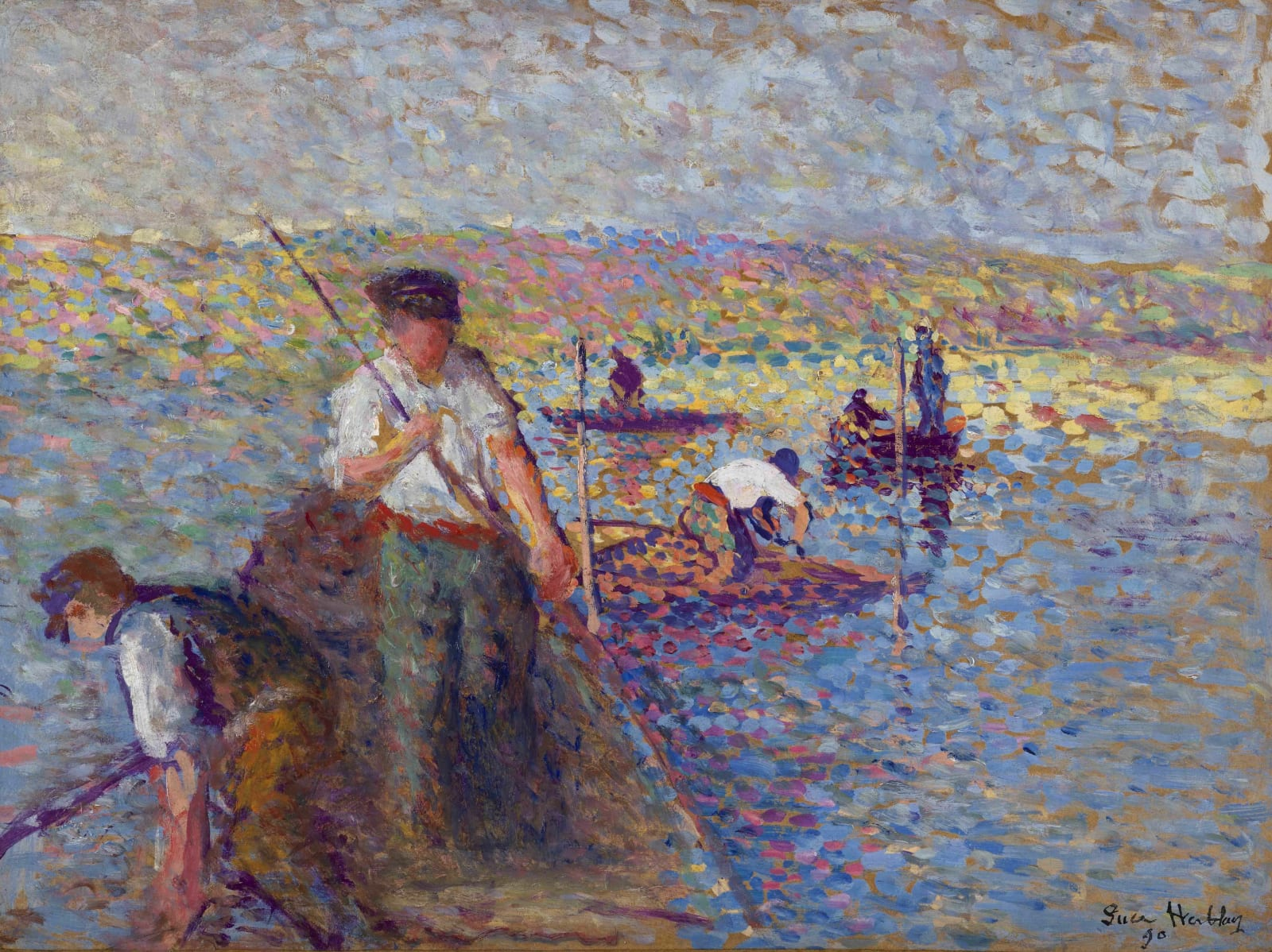 Maximilien Luce (1858-1941) Pécheurs sur la Seine à Herblay 1890 Oil on paper laid down on board 32.7 x 43.5 cm 12 7/8 x 17 1/8 inches Signed, dated, located lower right Luce Herblay '90 Sold by the gallery Archives Stoppenbach & Delestre