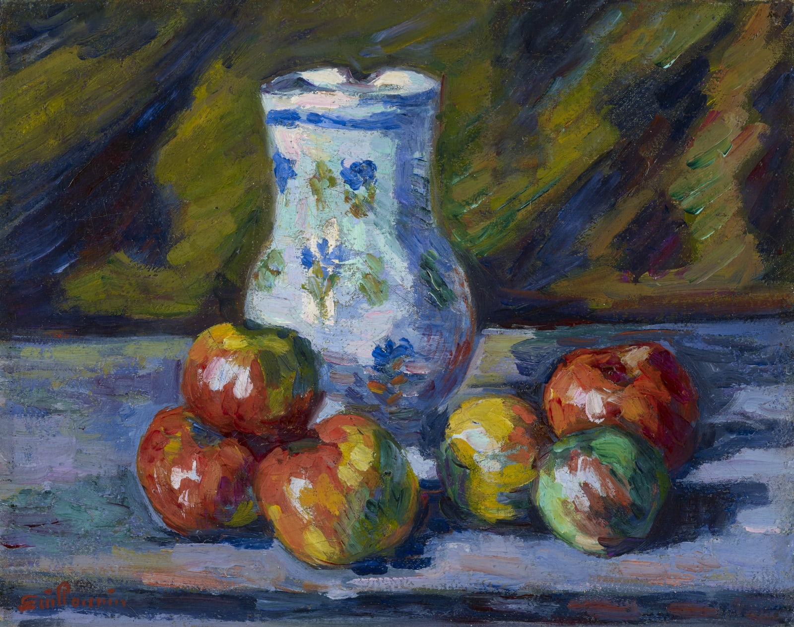 Armand Guillaumin Nature morte aux pommes, c.1880 Oil on canvas 12 x 24 cm 7 1/2 x 9 1/2 inches Signed lower left Guillaumin Sold by the gallery