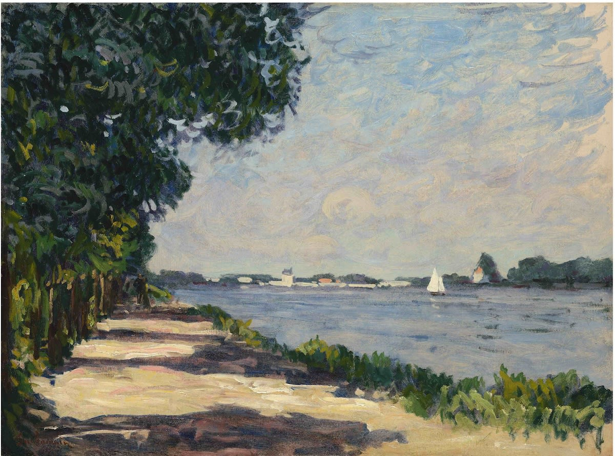 Armand Guillaumin Au bord de la Seine, Argenteuil, c.1885 Oil on canvas 54.3 x 73 cm 21 3/8 x 28 3/4 inches Signed lower left 'Guillaumin' Sold by the gallery.