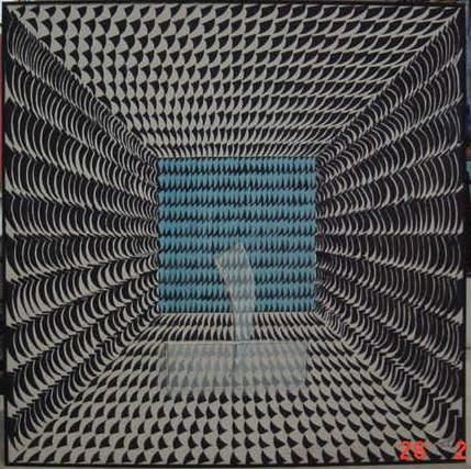 Omar El-Nagdi The Blue A, Mixed media on canvas, 150x150 Dr.