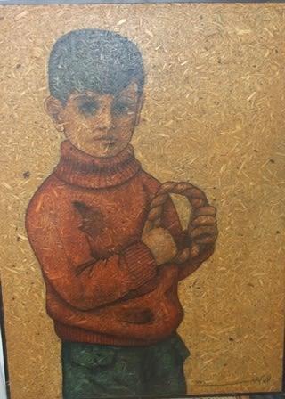 Louay Kayyali, The Boy 1974, Mixed media on board, 49x69.5