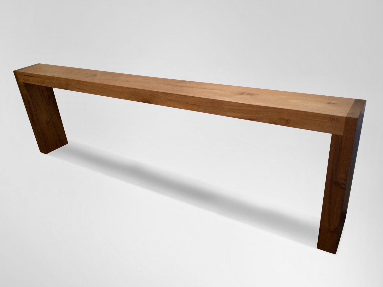 Long Console, 2018 Signed JAS Solid teak top and legs
