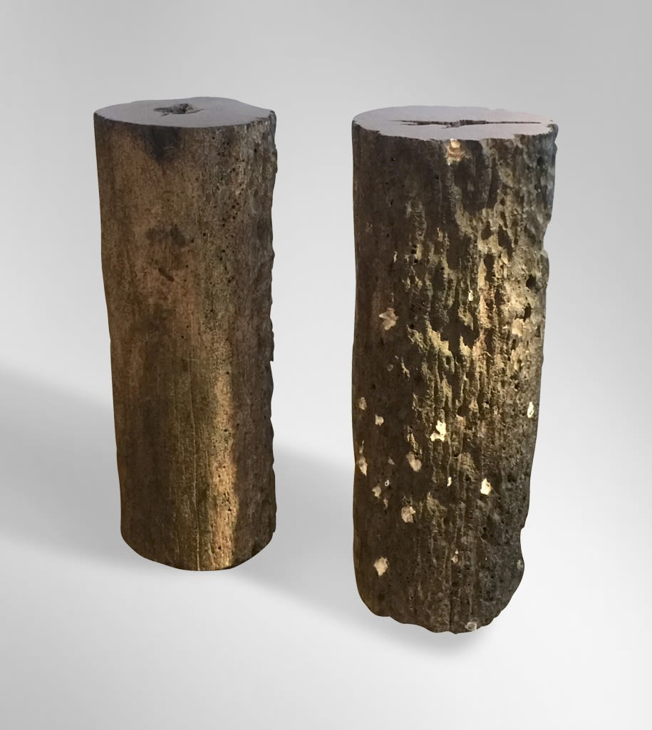A Pair of Sculptural Totems, 2018 Old ironwood stanchions with embedded seashells