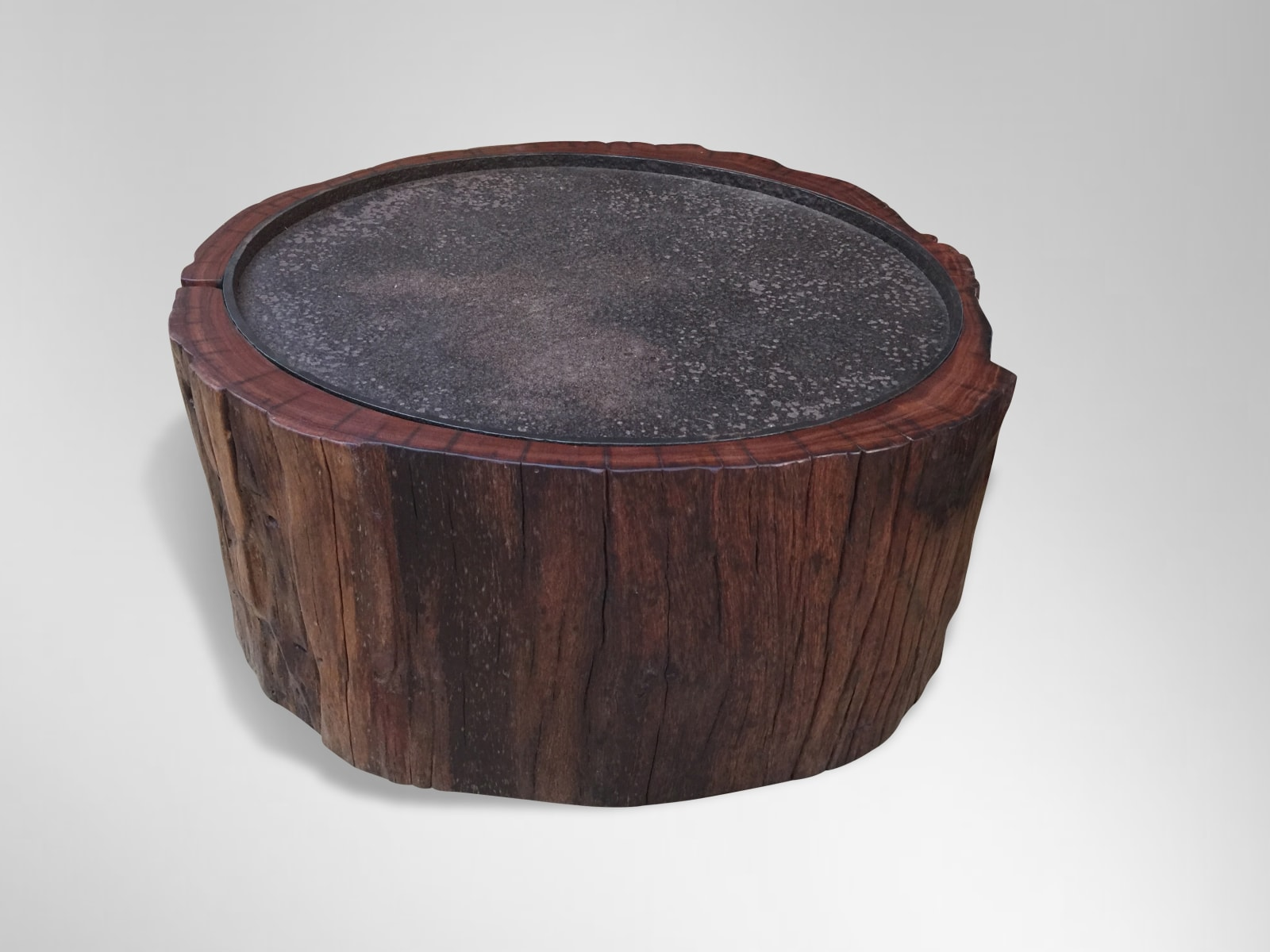 Coffee Table Ironwood trunk section from Borneo with inset salvaged cast iron top