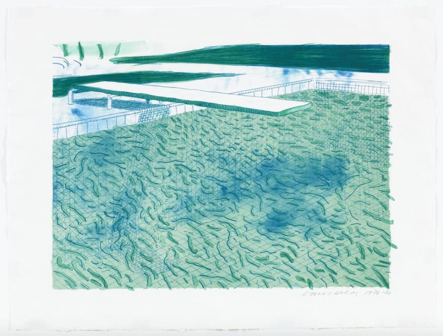 David Hockney, Lithograph of Water Made of Lines, a Green Wash, and a Light Blue Wash, 1978-80