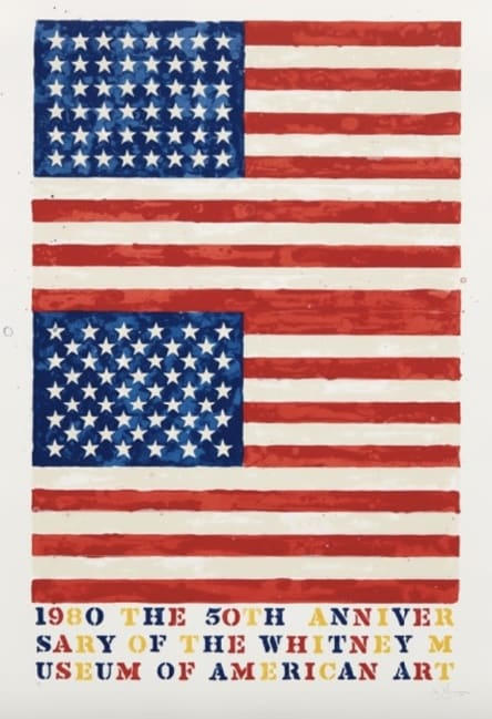 Jasper Johns, Two Flags (Whitney Museum of American Art 50th Anniversary), 1980