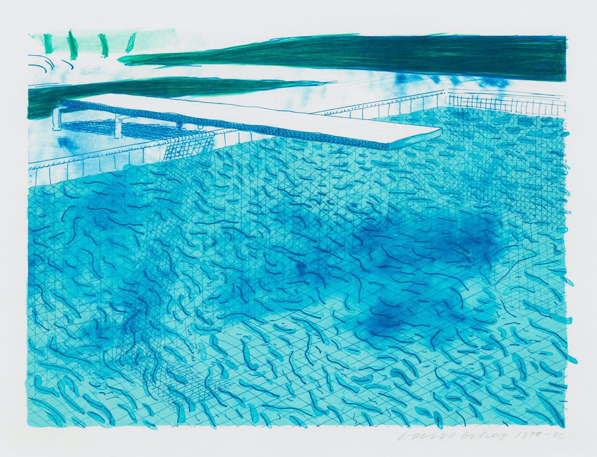 David Hockney, Lithograph of Water Made of Lines with Two Light Blue Washes, 1978-1980