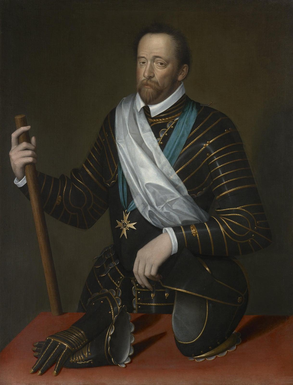 Filippo di Piero Strozzi (1541 – 1582), Knight of Malta, in armour with the Order of Saint Michel