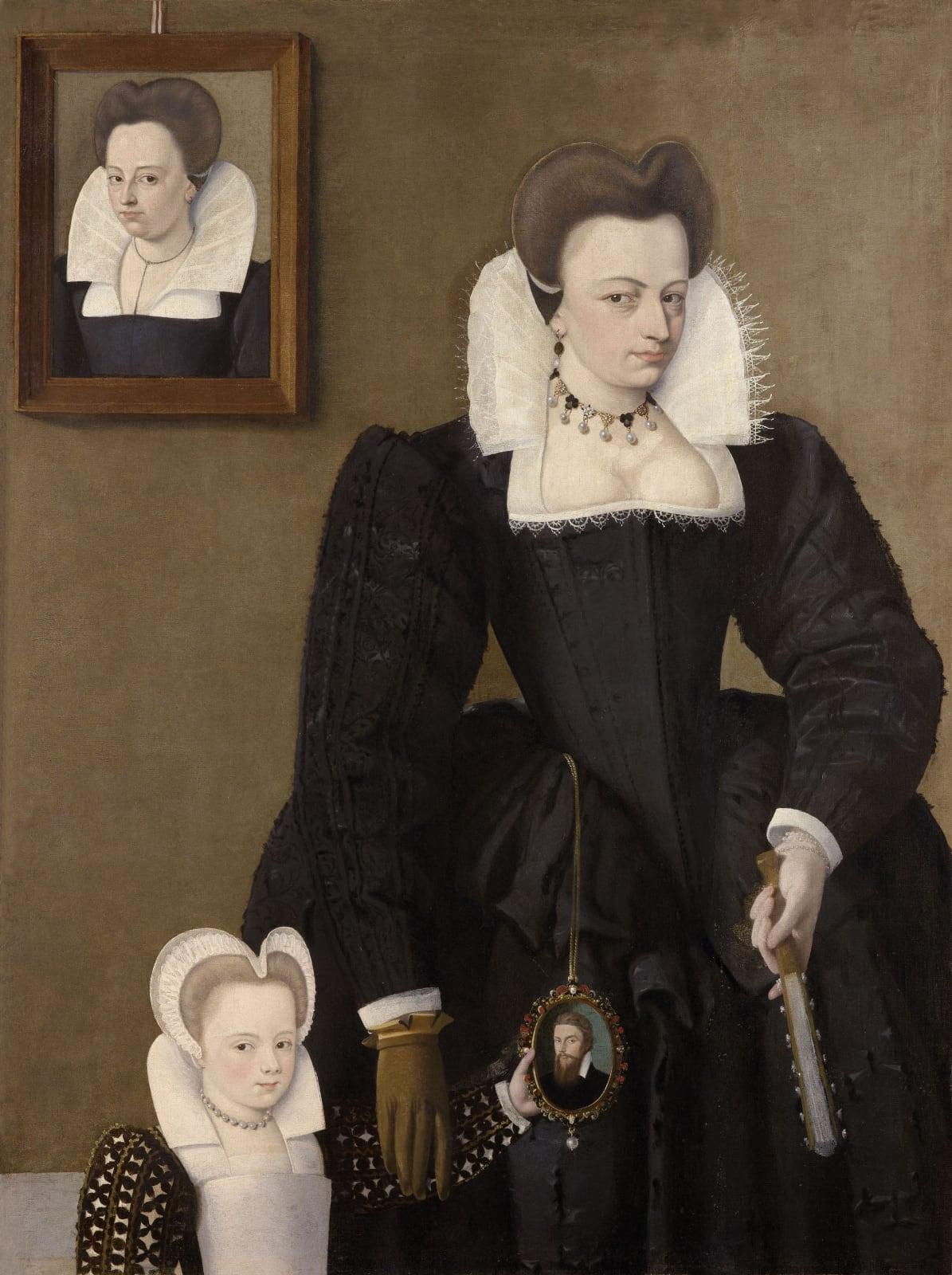 Jeanne de Bourdeille (d.1596), with one of her daughters holding a miniature of her late husband Antoine de Beaupoil de Sainte-Aulaire, Sénéchal de Perigord (c.1560 – 1593)