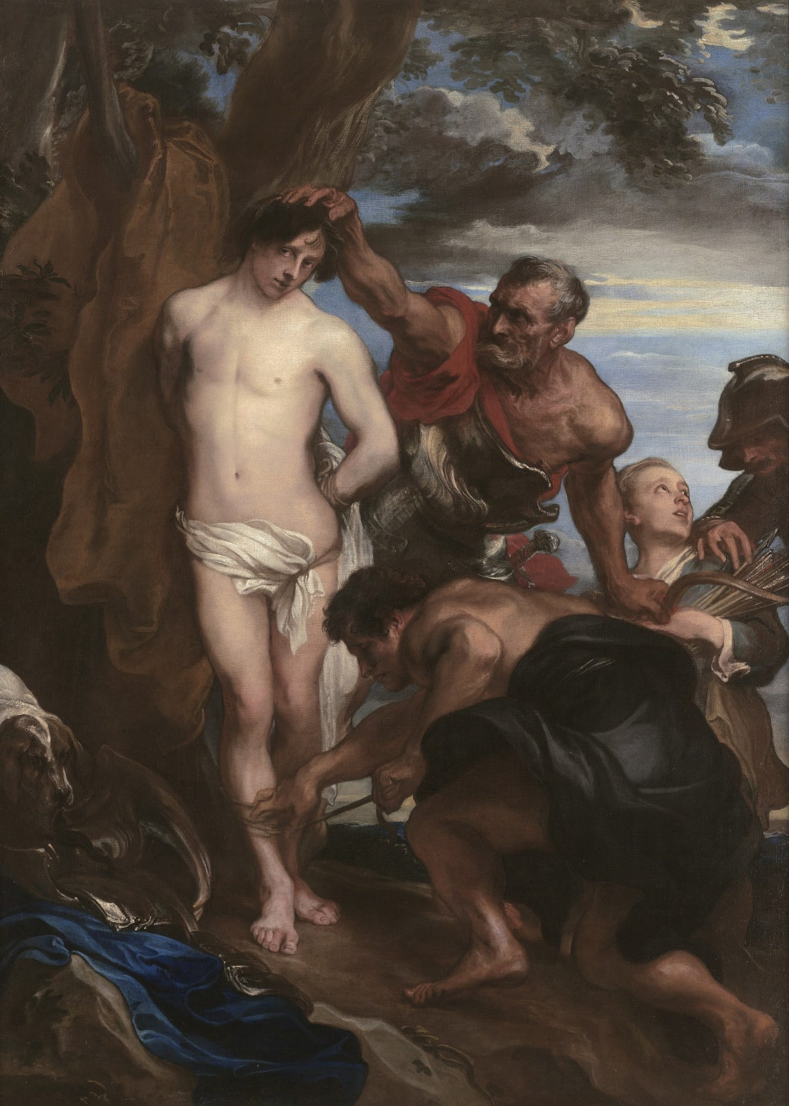 "Sir Anthony van Dyck (1599 - 1641)  The Martyrdom of St. Sebastian  Oil on canvas: 76 3/8 x 55 7/8 in. (194 x 142 cm.)  Painted circa 1622 - 1623  SOLD TO THE PATRIMONIO NACIONAL, SAN LORENZO DE EL ESCORIAL, MADRID  ""...the restitution back to Spain of this lost masterpiece will surely always remain a crowning moment of my career."" ~ Mark Weiss, 2010."
