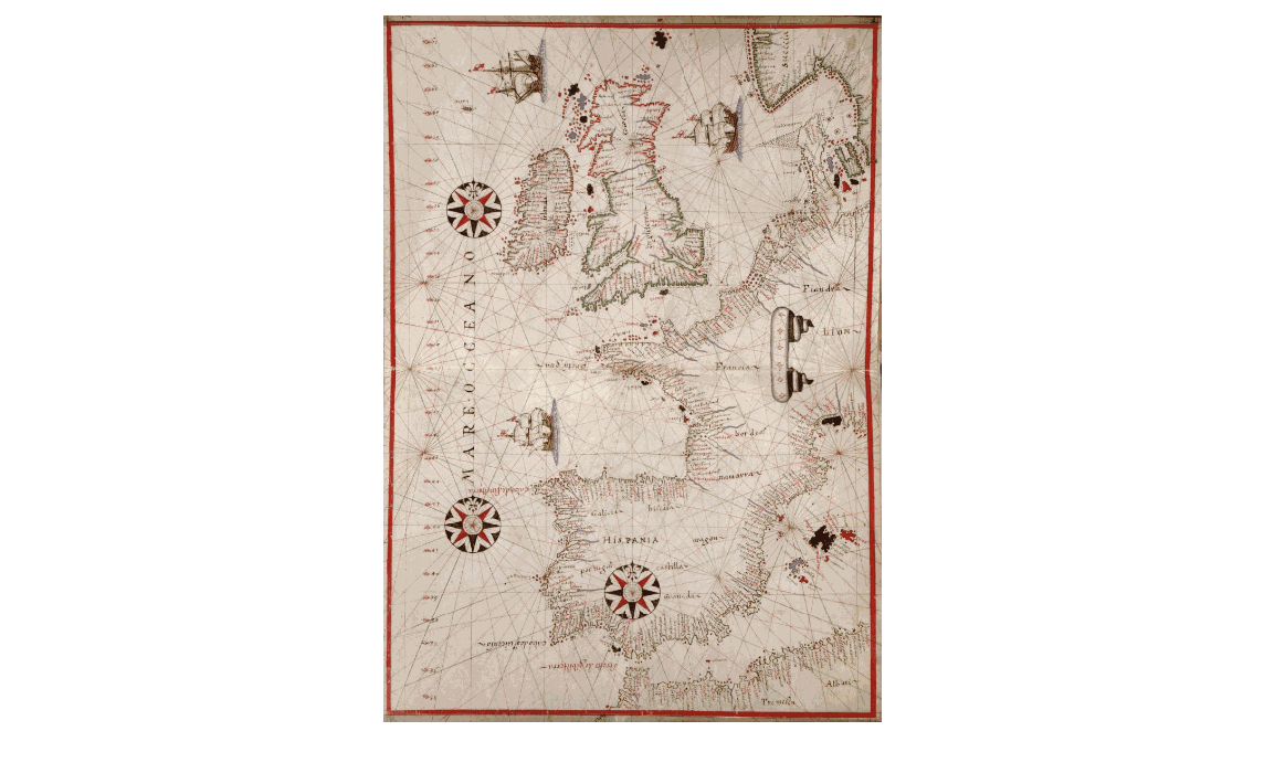 How she travelled: 16th century map of Western Europe, showing the North Sea